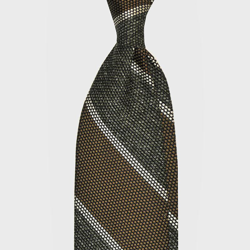 F.Marino Handmade 3-Fold Untipped Regimental Grenadine Silk Tie | Olive
