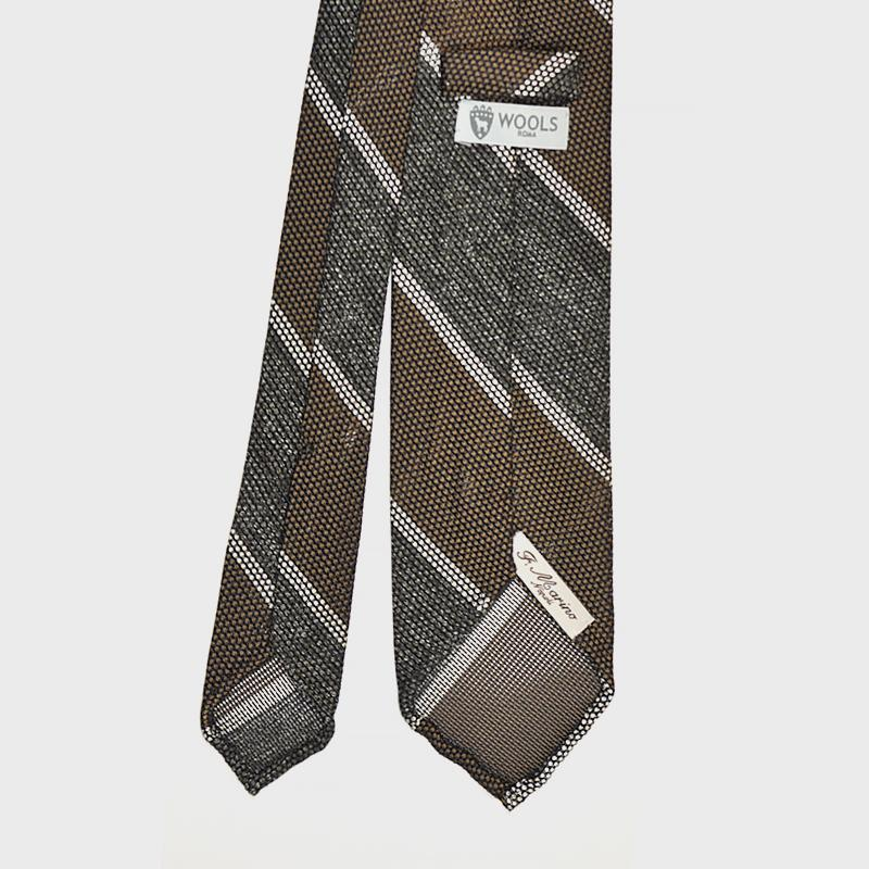 F.Marino Handmade 3-Fold Untipped Regimental Grenadine Silk Tie Olive