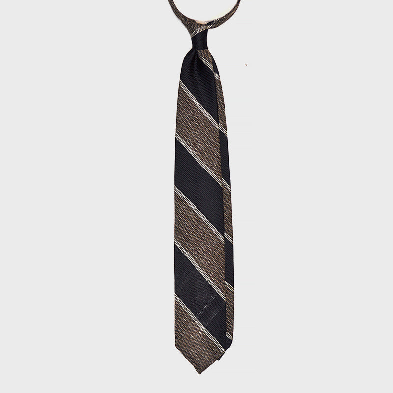F.Marino Handmade 3-Fold Untipped Regimental Grenadine Silk Tie Brown
