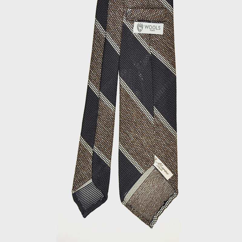 F.Marino Handmade 3-Fold Untipped Regimental Grenadine Silk Tie | Brown