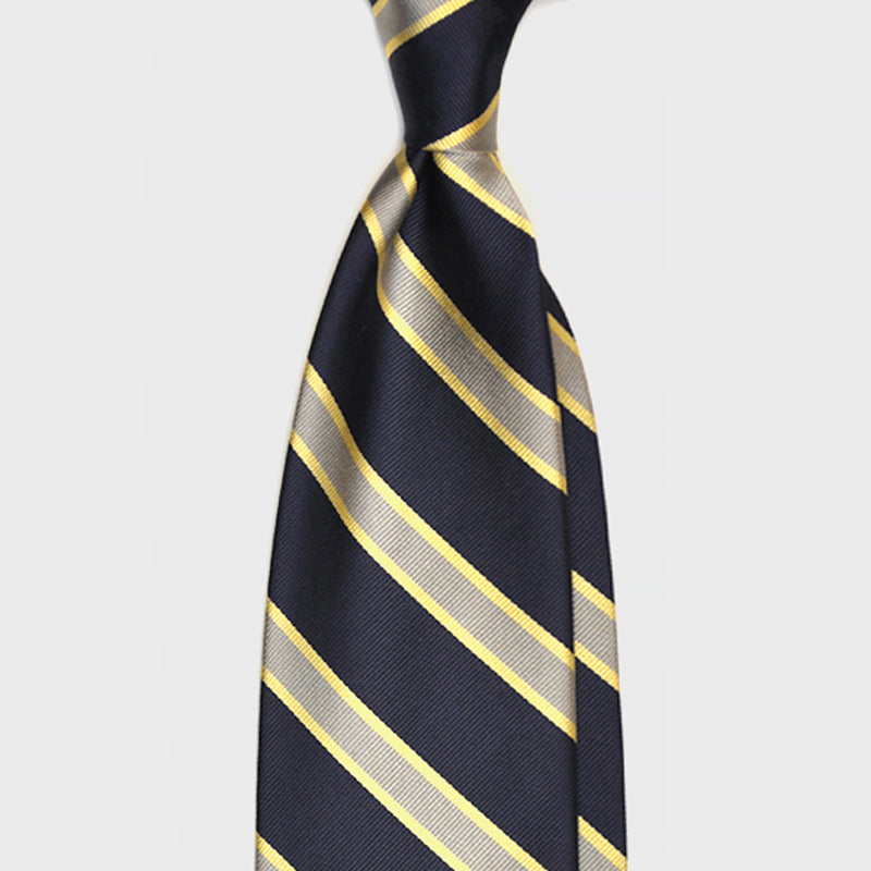 F.Marino Handmade 3-Fold Untipped Regimental Silk Tie | Yellow