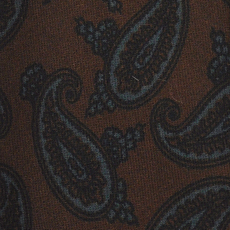 F.Marino Handmade 3-Fold Untipped Paisley Wool Tie Brown