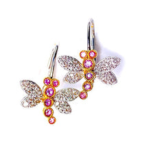 Load image into Gallery viewer, Pink Sapphire & Diamond Dragonfly Earrings in 18k