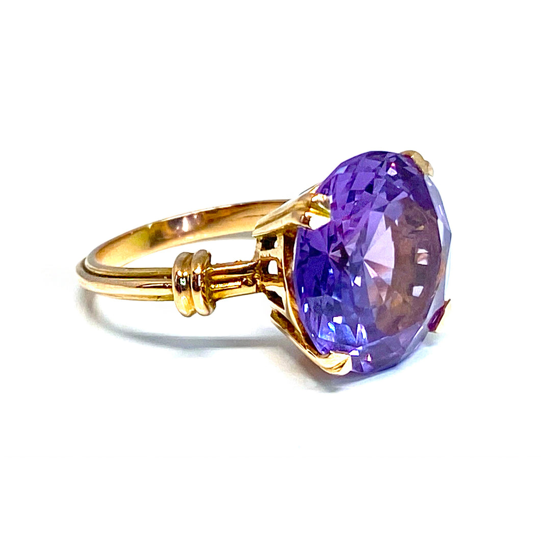 Synthetic Alexandrite Ring in 14k