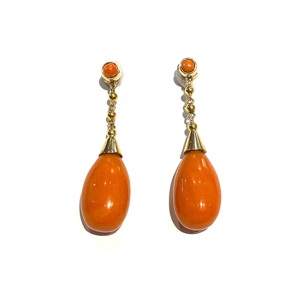 Coral Drop Earring in 18k