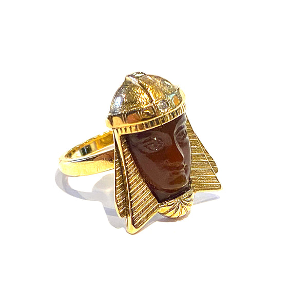 Carved Carnelian Egyptian Ring in 14k & 18k