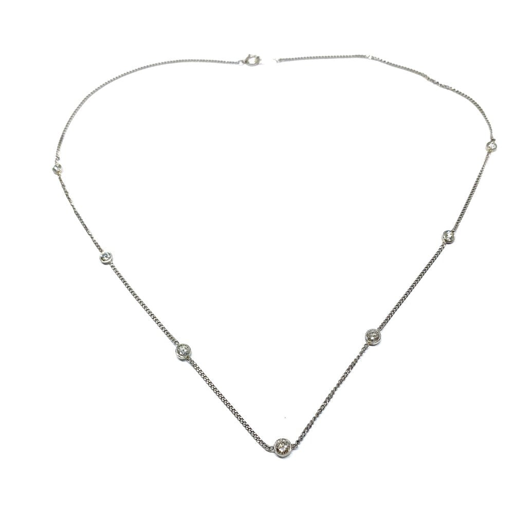 Vintage Diamonds By the Yard Station Necklace in Platinum