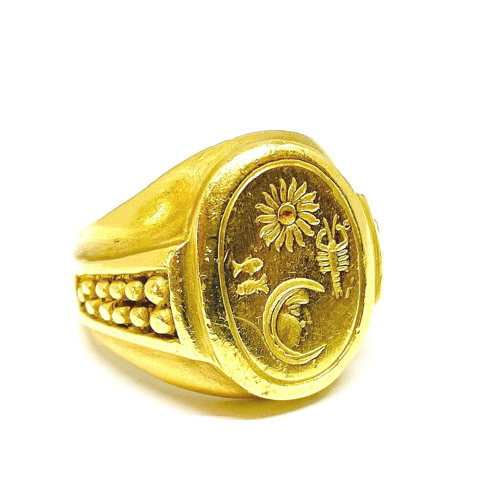 Heavy Kieselstein Cord Signet Ring in 18k