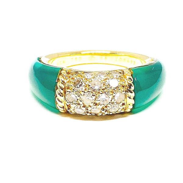 Classic Van Cleef Arpels 'Philippine' Green Onyx Ring in 18k
