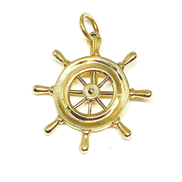 Articulated Ship's Wheel Charm in 14k