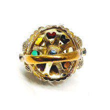 "Load image into Gallery viewer, Vintage Multi Gemstone ""Miner's"" Dome Ring in 10K"