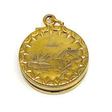 Load image into Gallery viewer, Vintage Double Sided Locket Charm in Gold Plated 14k