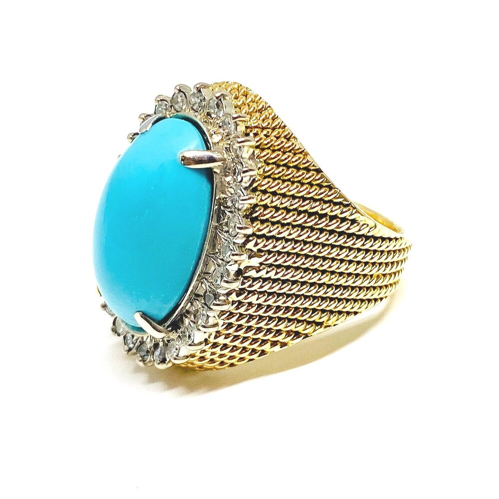 Vintage Mid Century Turquoise & Diamond Ring in 18k