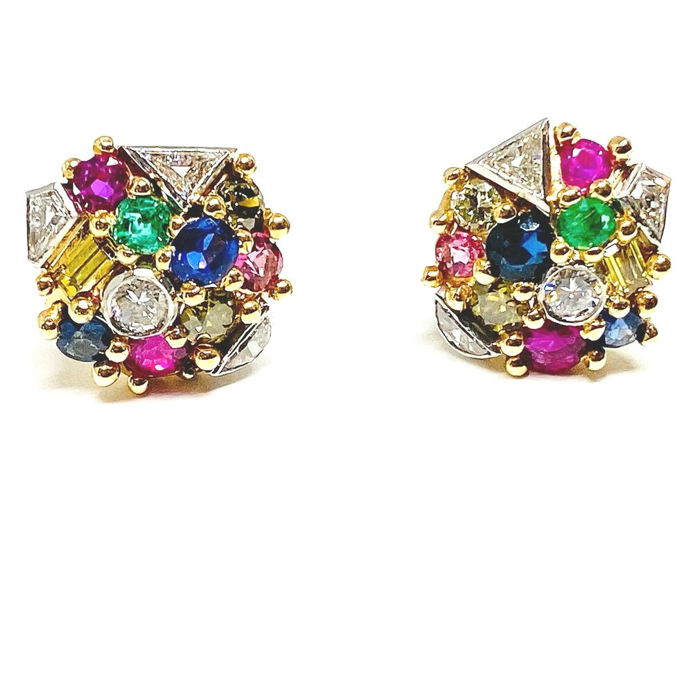 Mid Century Multi-Gemstone Earrings in 18k