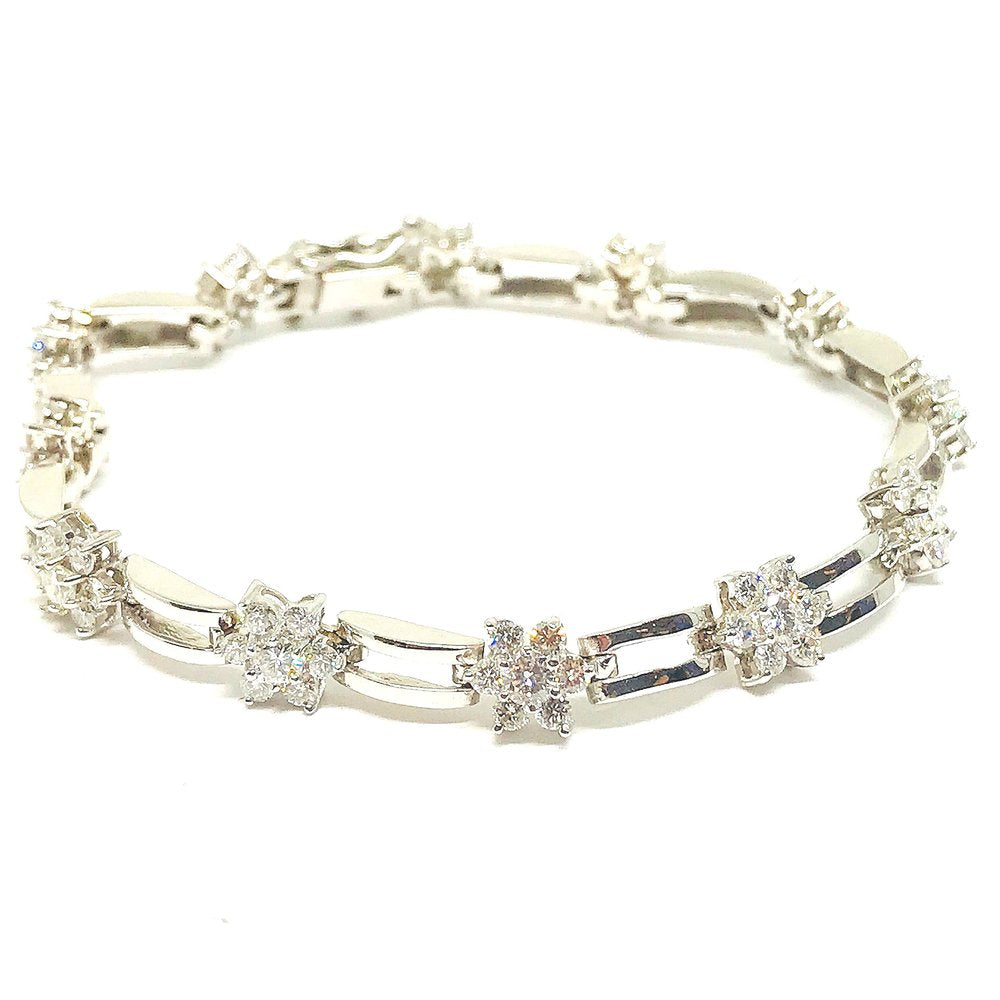 Diamond Flower Bracelet in 14K