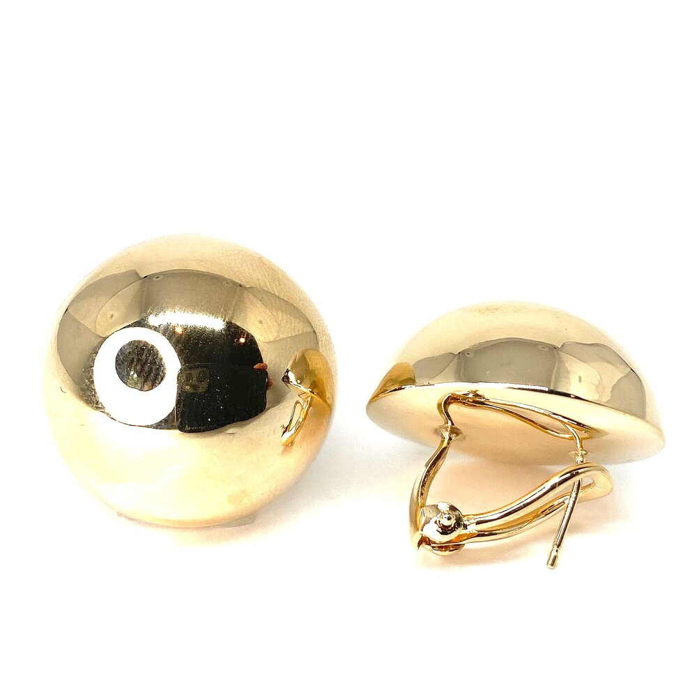 Hallow Button Earrings in 14k