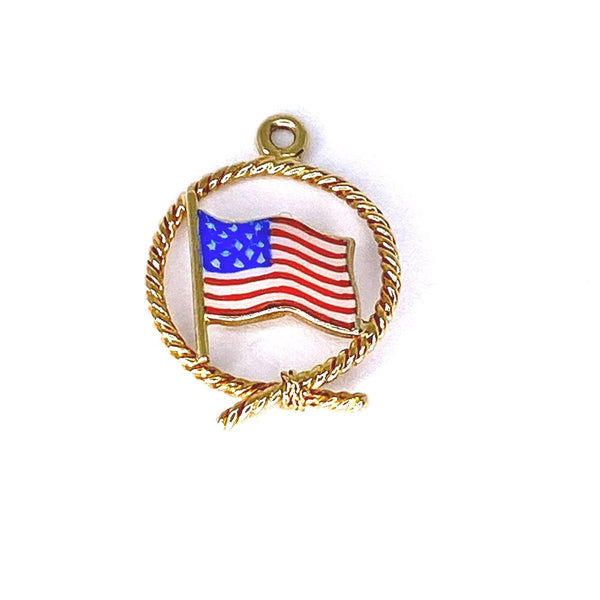Enamel Flag Charm in 14k