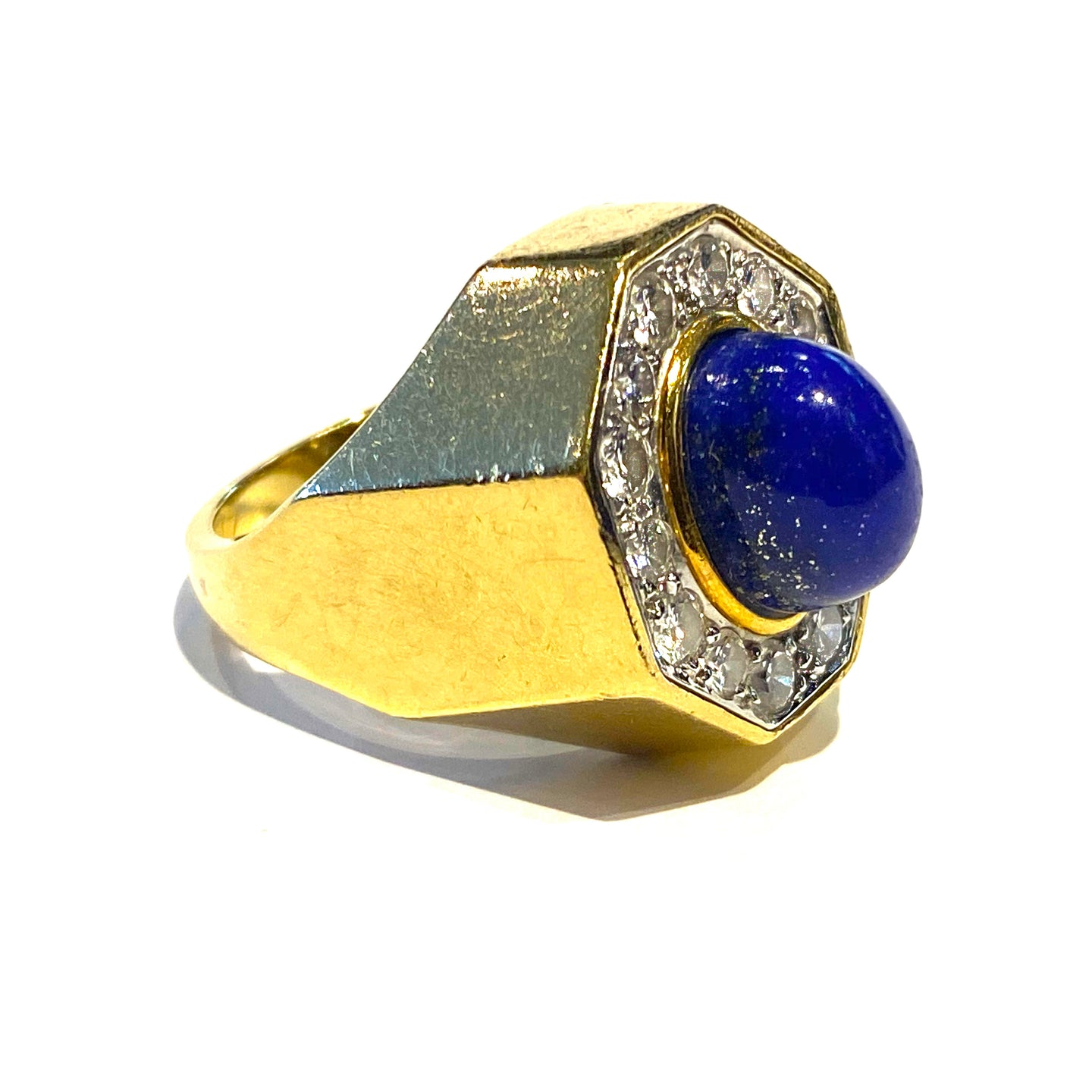 Lapis and Diamond Ring in 18K