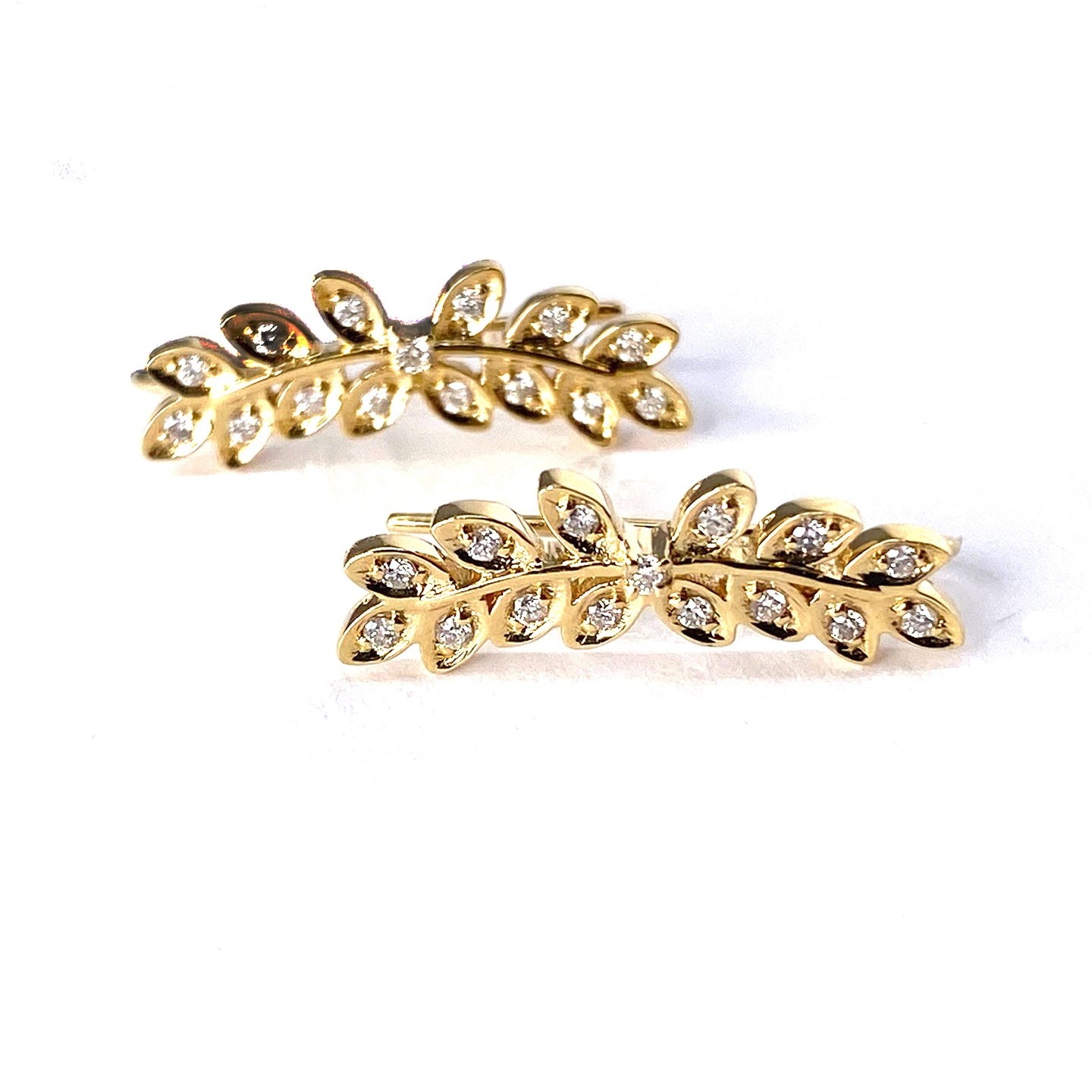 Diamond Leaf Ear Climbers in 18k