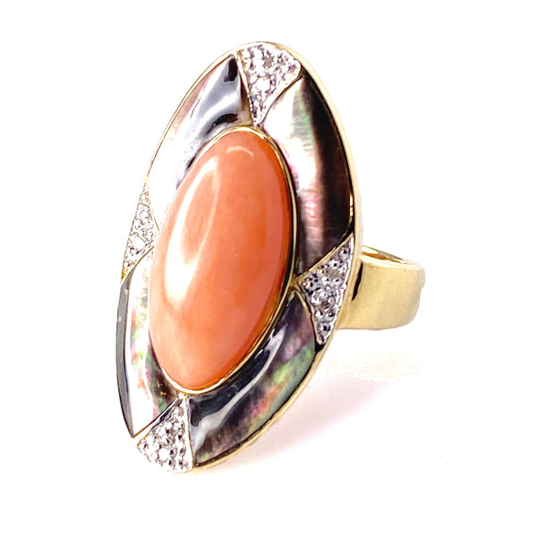 Coral & Mother of Pearl Ring in 14k