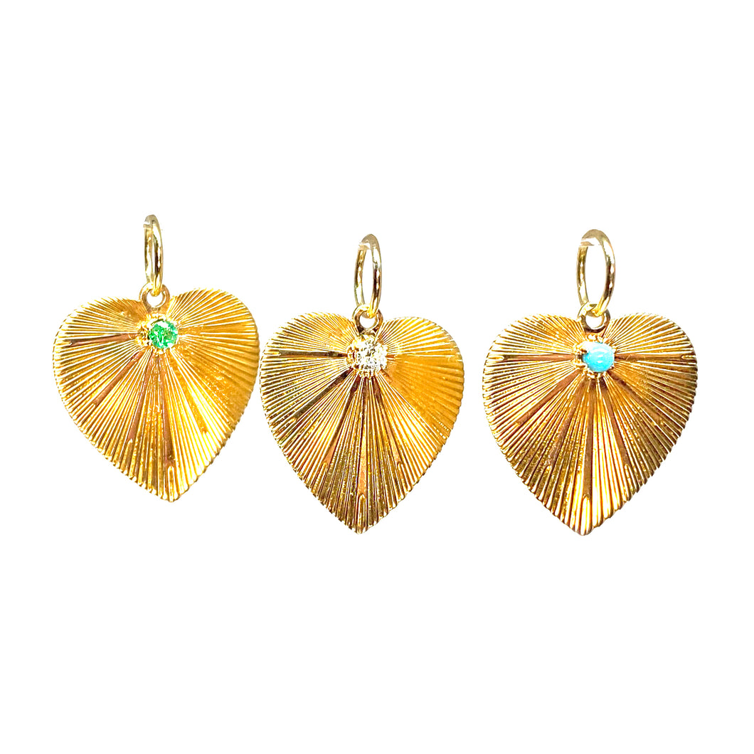 Solid Gold Retro Heart with Stone in 14k