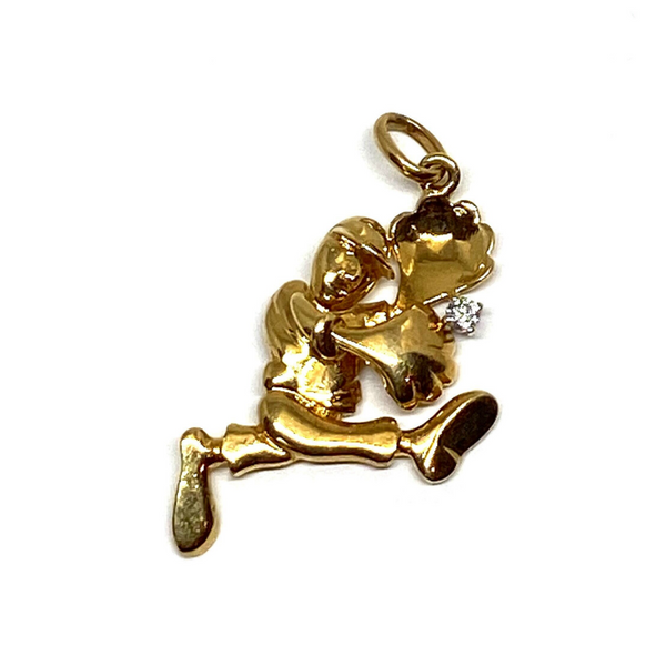 Diamond Baseball Charm in 14k