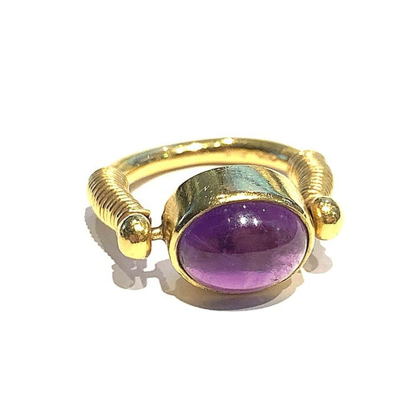 Cabochon Amethyst Ring in 18K