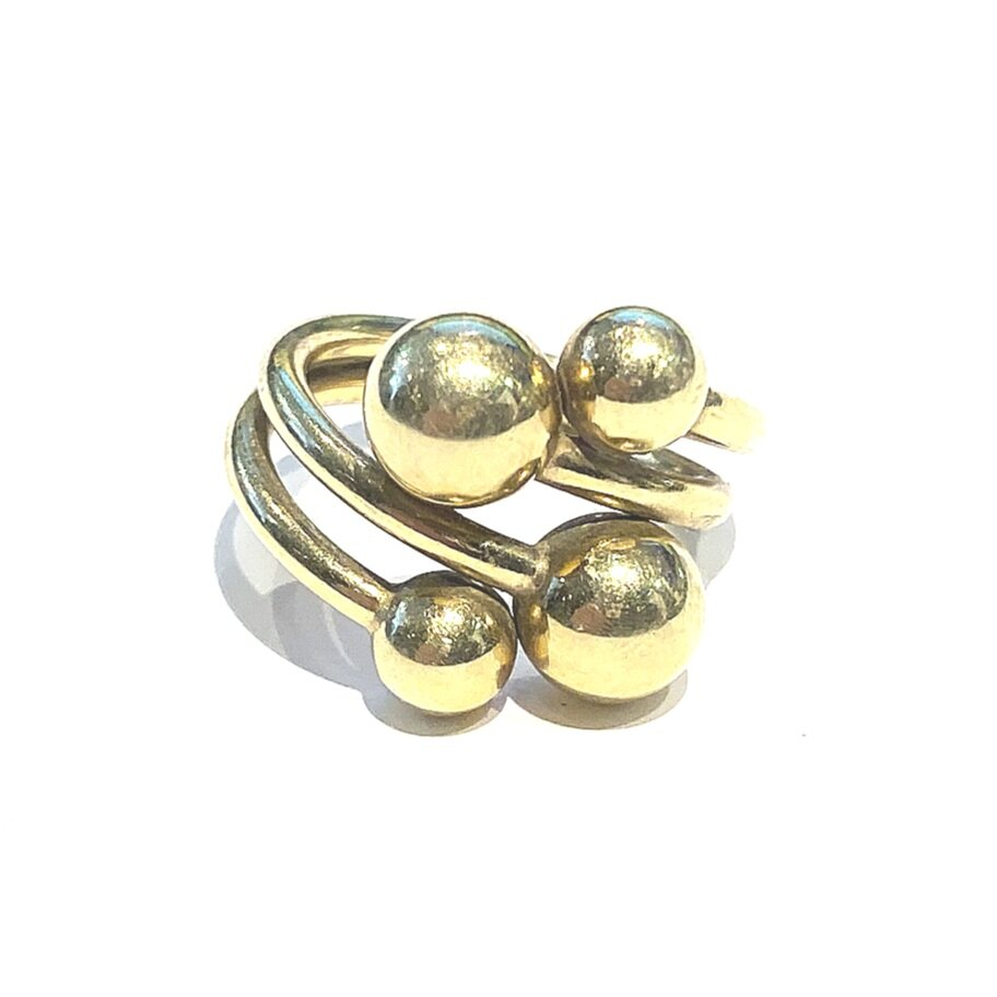 Vintage Abstract Ball Ring in 14k