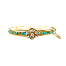 Load image into Gallery viewer, Diamond & Turquoise Bangle Circa 1940s-1950s in 14k