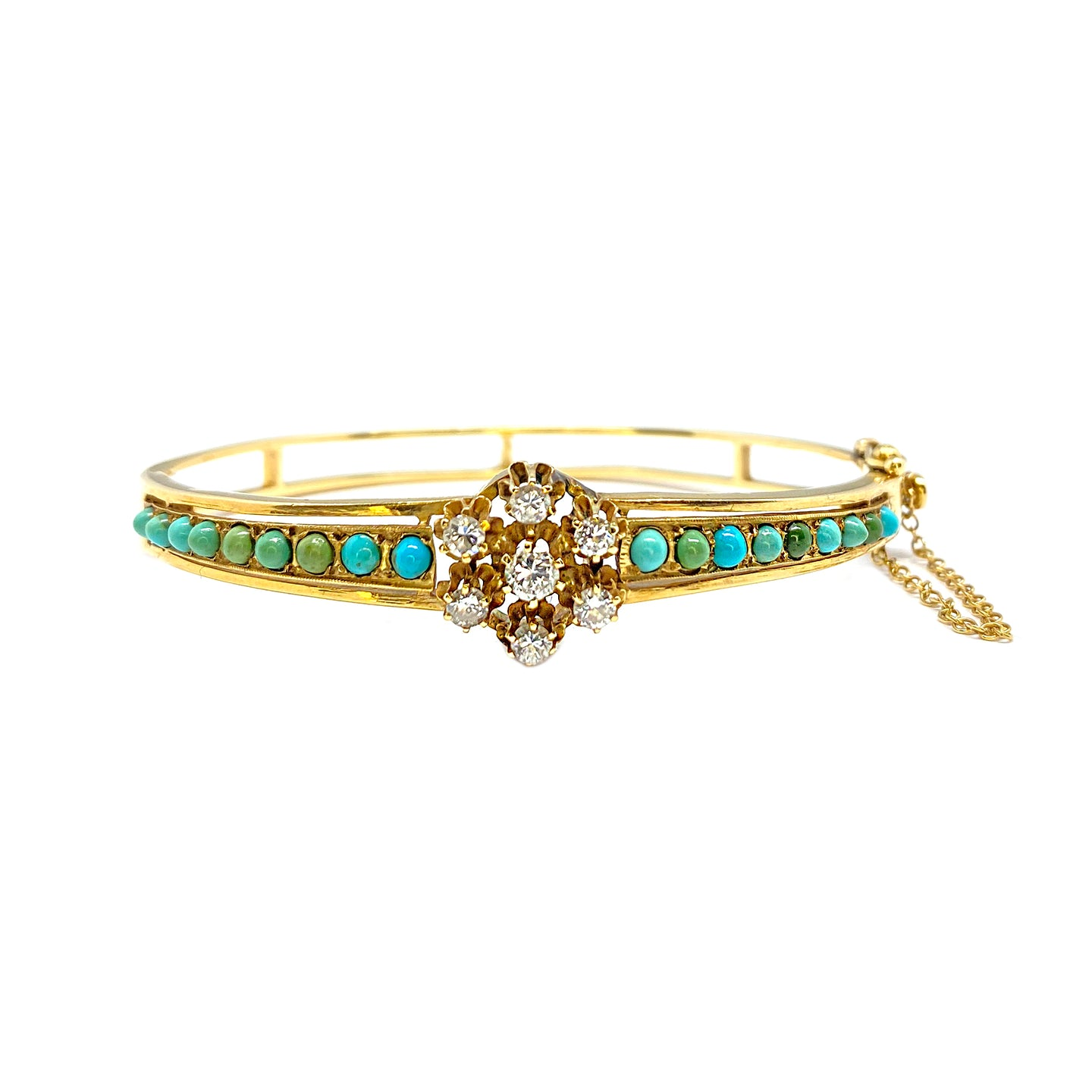 Diamond & Turquoise Bangle Circa 1940s-1950s in 14k