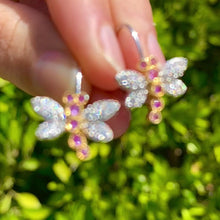 Load and play video in Gallery viewer, Pink Sapphire & Diamond Dragonfly Earrings in 18k