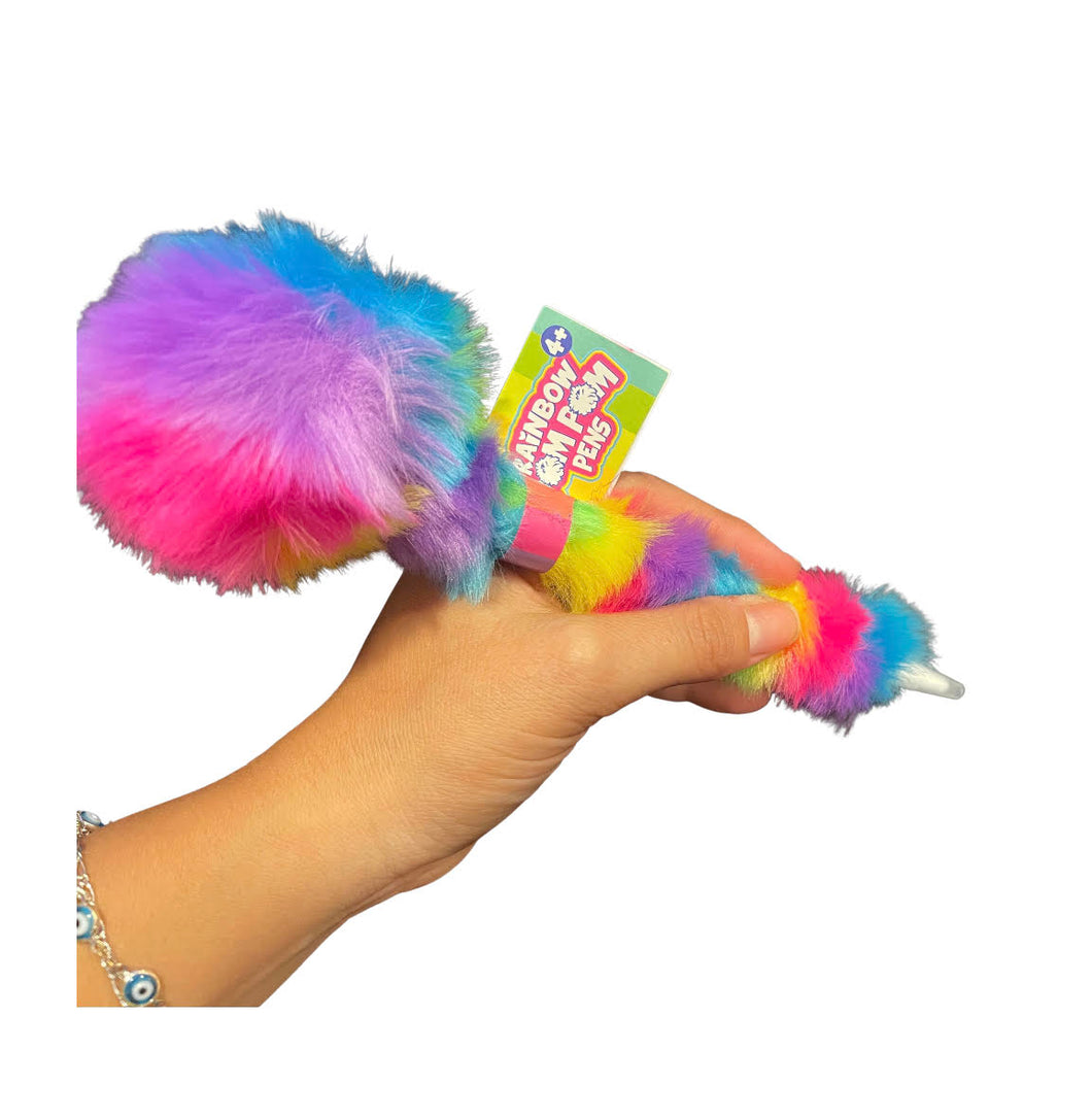 RAINBOW Fluffy Pom Pom Pen