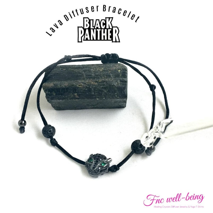 Gelang tali Lava Beads Black panther diffuser