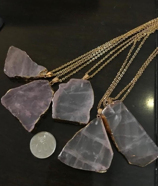 Kalung Batu Alam natural Rose Quartz Flat