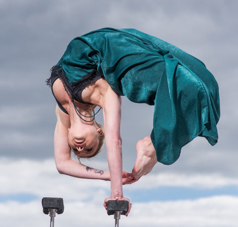 contortionist hand balancing on canes