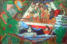 "Load image into Gallery viewer, Andre Pierre (1914-2005) 24""x36"" ""Ceremonie Erzulie Malade"" 1972 Oil on Board #14-3-96MFN"