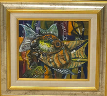 "Load image into Gallery viewer, Jean-Claude Castera 13""x16"" The Fish 1989 Acrylic on Masonite Framed #2FC"