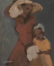 "Load image into Gallery viewer, Carlo Jn-Jacques (1943-1990) 20""x16"" Mother & Daughter Acrylic on Canvas Framed #1FC"