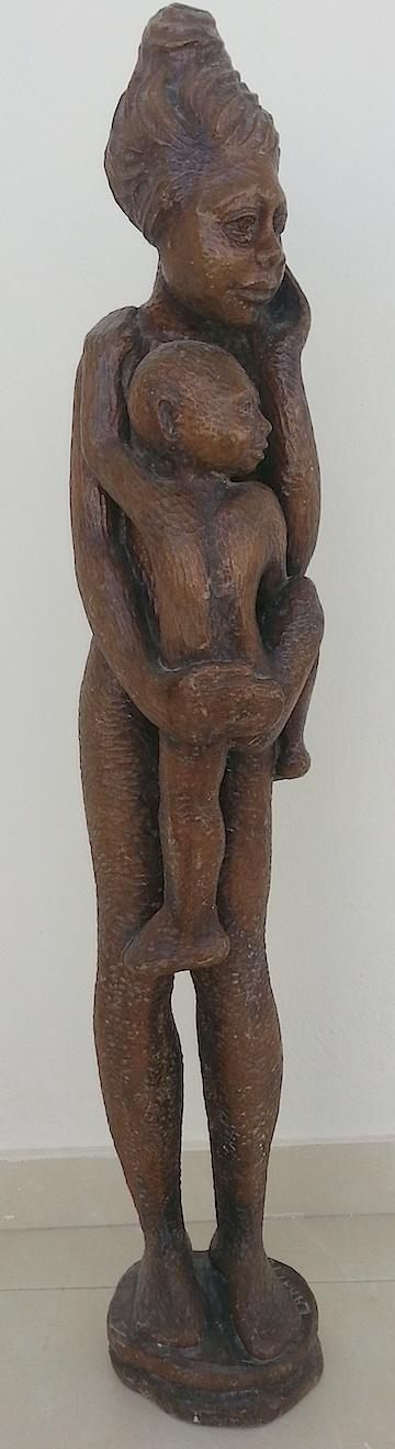 Georges Laratte Standing Wood Sculpture of a Mother and Child  40