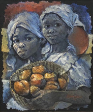 "Load image into Gallery viewer, Lyonel Laurenceau 24""x20"" Girls with Baskets 1976 Acrylic on Canvas Framed #3FC"