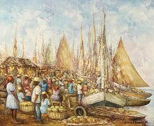 "Load image into Gallery viewer, Ernst Louizor (1938-2011) 20""x24"" Market at Port Oil on Canvas #1FC"
