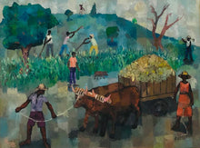 "Load image into Gallery viewer, Manes Descollines (1936-1985) 30""x40"" The Cow 1982 Acrylic on Canvas Framed"