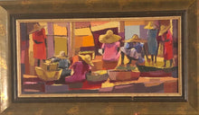 "Load image into Gallery viewer, Michele Manuel 8""x17.5"" The Market  Acrylic on Board Framed #2FC"