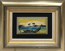 "Load image into Gallery viewer, Charles Obas (1927-1969) 4""x8"" Shipwreck c1960 Oil on Board Framed#1FC"