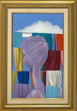 "Load image into Gallery viewer, Bernard Sejourne (1947-1994) 30""x18"" Lady with Fabrics 1994  Acrylic On Masonite Framed #6FC"