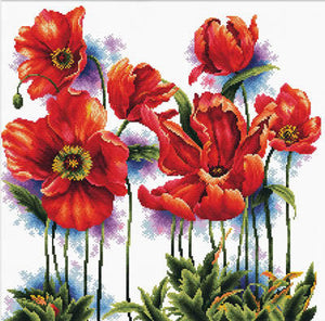 Poppies No Count Cross Stitch Kit