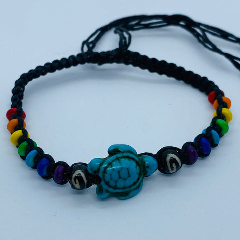 Rainbow/Chakra wristband with Turtle