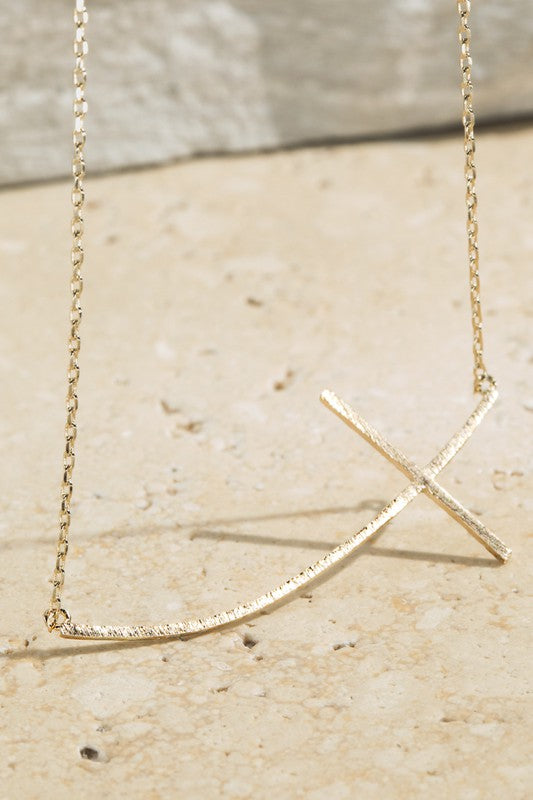 Curved Cross Necklace