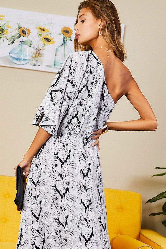 One Shoulder Snake Print Maxi Dress