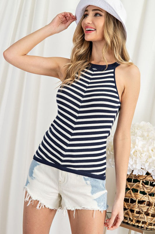 Stripped Knit Halter Top